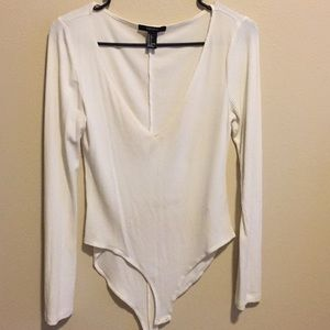 White Long Sleeve One-Piece
